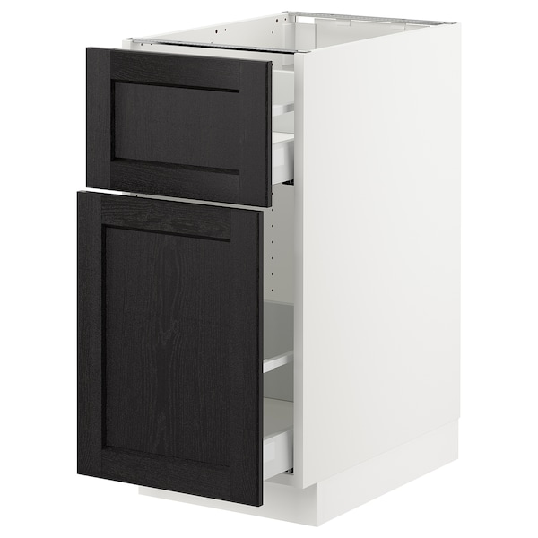 SEKTION Base cabinet/p-out storage/drawer, white Maximera/Lerhyttan black stained, 15x24x30 ""