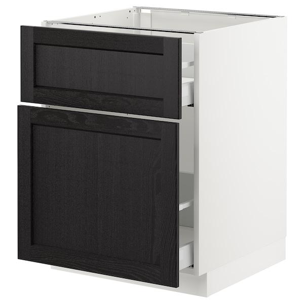 "SEKTION Base cabinet/p-out storage/drawer, white Maximera/Lerhyttan black stained, 24x24x30 """