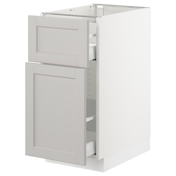 SEKTION Base cabinet/p-out storage/drawer, white Maximera/Lerhyttan light gray, 15x24x30 ""