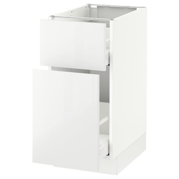 SEKTION Base cabinet/p-out storage/drawer, white Maximera/Ringhult white, 15x24x30 ""