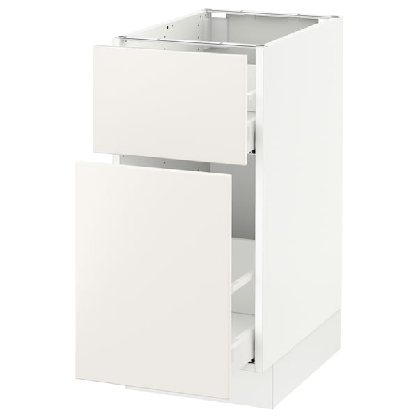 SEKTION Base cabinet/p-out storage/drawer, white Maximera/Veddinge white, 15x24x30 ""