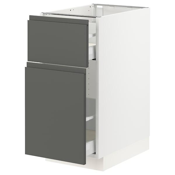 "SEKTION Base cabinet/p-out storage/drawer, white Maximera/Voxtorp dark gray, 15x24x30 """