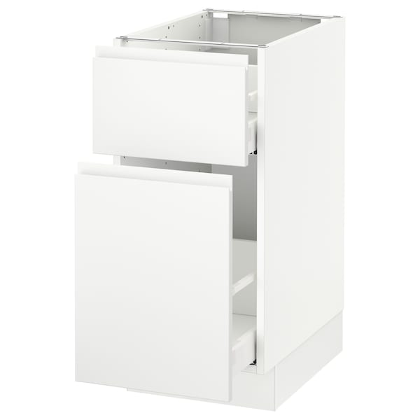 SEKTION Base cabinet/p-out storage/drawer, white Maximera/Voxtorp matt white, 15x24x30 ""