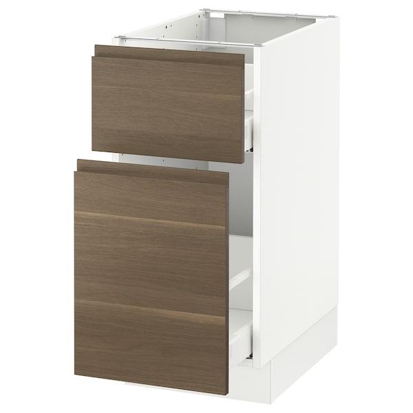 "SEKTION Base cabinet/p-out storage/drawer, white Maximera/Voxtorp walnut, 15x24x30 """