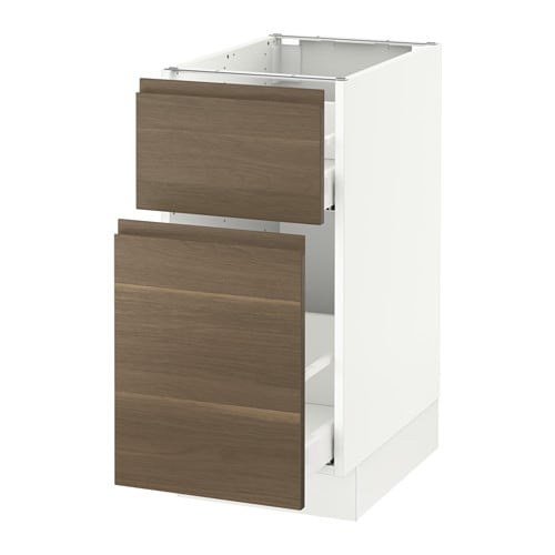 Ikea kitchens bodbyn white and laxarby black brown - Sektion Base Cabinet P Out Storage Drawer White Voxtorp