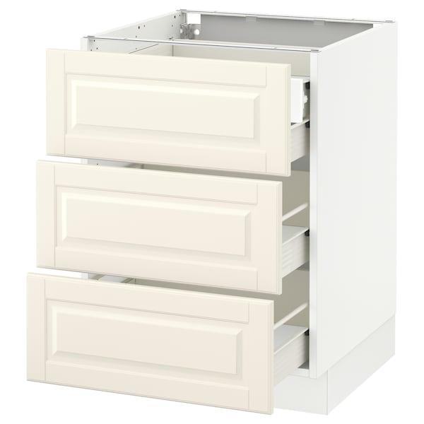 "SEKTION Base cabinet w/3 fronts & 4 drawers, white Förvara/Bodbyn off-white, 24x24x30 """