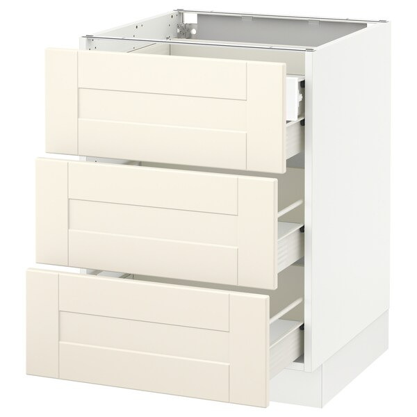 SEKTION Base cabinet w/3 fronts & 4 drawers, white Förvara/Grimslöv off-white, 24x24x30 ""