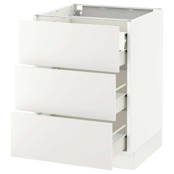 "SEKTION Base cabinet w/3 fronts & 4 drawers, white Förvara/Häggeby white, 24x24x30 """