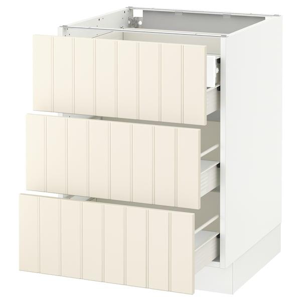 "SEKTION Base cabinet w/3 fronts & 4 drawers, white Förvara/Hittarp off-white, 24x24x30 """