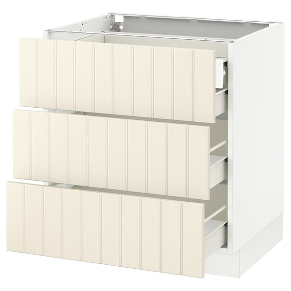 SEKTION Base cabinet w/3 fronts & 4 drawers, white Förvara/Hittarp off-white, 30x24x30 ""