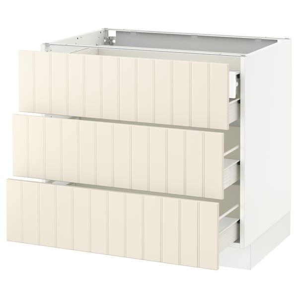 "SEKTION Base cabinet w/3 fronts & 4 drawers, white Förvara/Hittarp off-white, 36x24x30 """