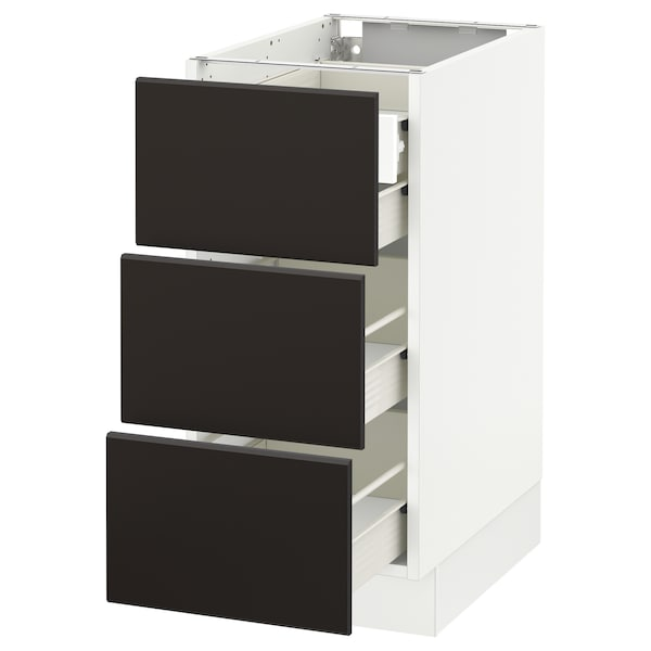 """SEKTION Base cabinet w/3 fronts & 4 drawers, white Förvara/Kungsbacka anthracite, 15x24x30 """""""