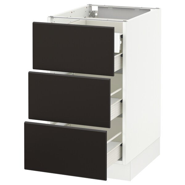"""SEKTION Base cabinet w/3 fronts & 4 drawers, white Förvara/Kungsbacka anthracite, 18x24x30 """""""