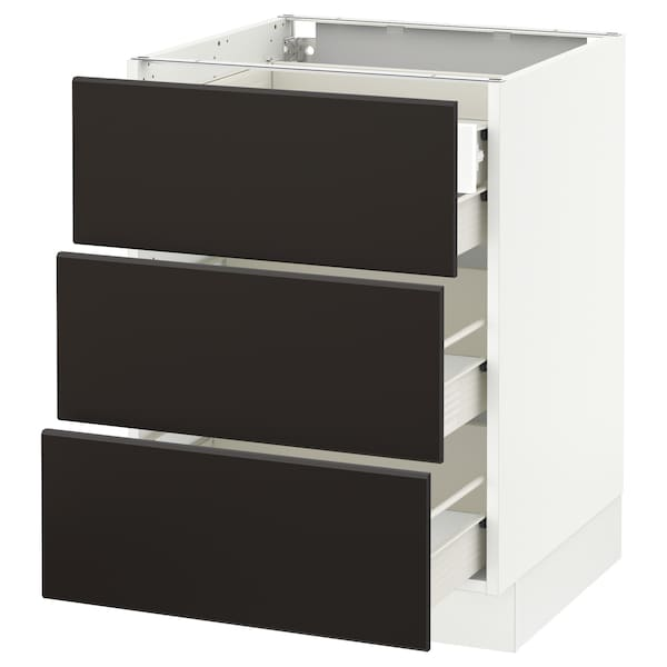 """SEKTION Base cabinet w/3 fronts & 4 drawers, white Förvara/Kungsbacka anthracite, 24x24x30 """""""