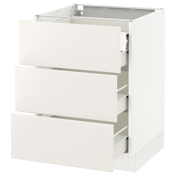 "SEKTION Base cabinet w/3 fronts & 4 drawers, white Förvara/Veddinge white, 24x24x30 """