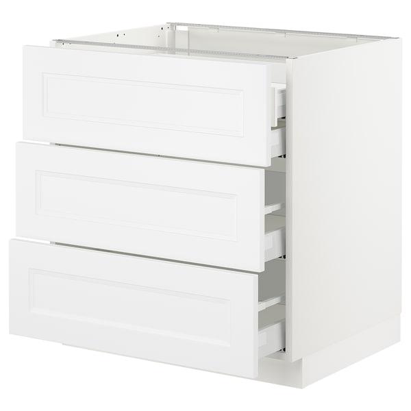 "SEKTION Base cabinet w/3 fronts & 4 drawers, white Maximera/Axstad matt white, 30x24x30 """