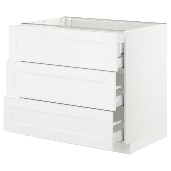 "SEKTION Base cabinet w/3 fronts & 4 drawers, white Maximera/Axstad matt white, 36x24x30 """