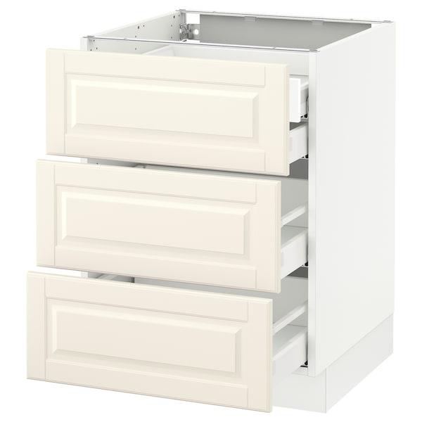 "SEKTION Base cabinet w/3 fronts & 4 drawers, white Maximera/Bodbyn off-white, 24x24x30 """