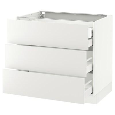 "SEKTION Base cabinet w/3 fronts & 4 drawers, white Maximera/Häggeby white, 36x24x30 """