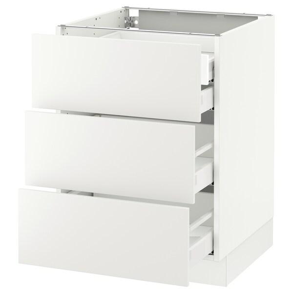 "SEKTION Base cabinet w/3 fronts & 4 drawers, white Maximera/Häggeby white, 24x24x30 """