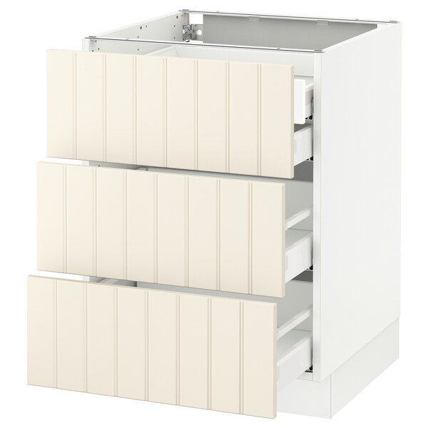 SEKTION Base cabinet w/3 fronts & 4 drawers, white Maximera/Hittarp off-white, 24x24x30 ""