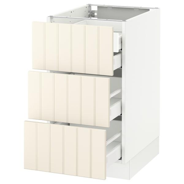 "SEKTION Base cabinet w/3 fronts & 4 drawers, white Maximera/Hittarp off-white, 18x24x30 """