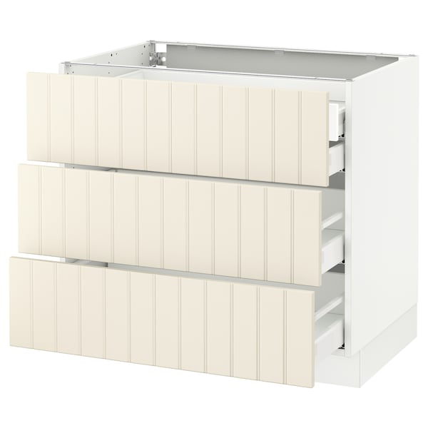 "SEKTION Base cabinet w/3 fronts & 4 drawers, white Maximera/Hittarp off-white, 36x24x30 """