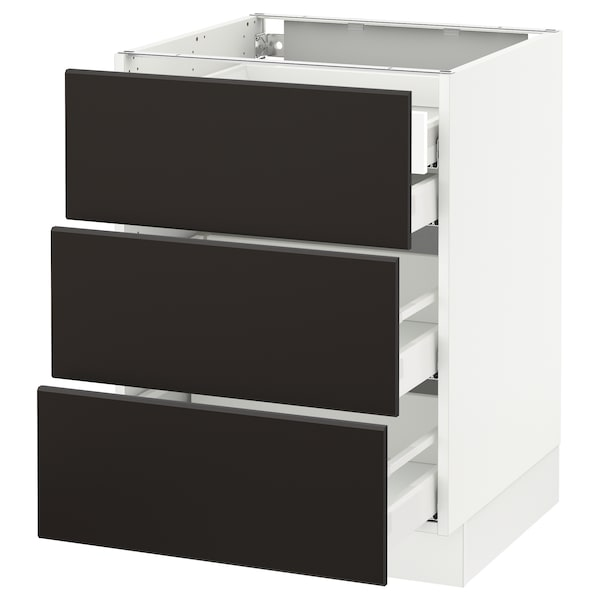 """SEKTION Base cabinet w/3 fronts & 4 drawers, white Maximera/Kungsbacka anthracite, 24x24x30 """""""