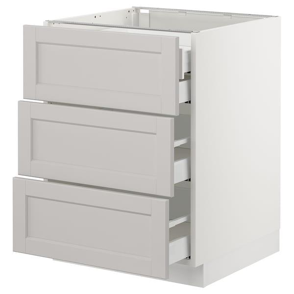 "SEKTION Base cabinet w/3 fronts & 4 drawers, white Maximera/Lerhyttan light gray, 24x24x30 """