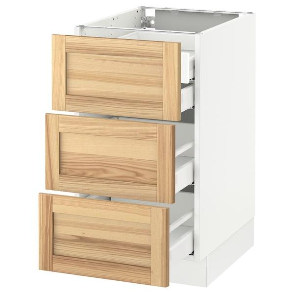 """SEKTION Base cabinet w/3 fronts & 4 drawers, white Maximera/Torhamn ash, 18x24x30 """""""
