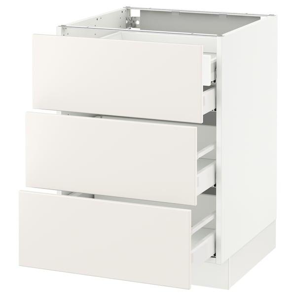 """SEKTION Base cabinet w/3 fronts & 4 drawers, white Maximera/Veddinge white, 24x24x30 """""""