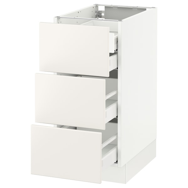 SEKTION Base cabinet w/3 fronts & 4 drawers, white Maximera/Veddinge white, 15x24x30 ""