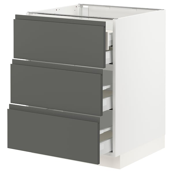 "SEKTION Base cabinet w/3 fronts & 4 drawers, white Maximera/Voxtorp dark gray, 24x24x30 """