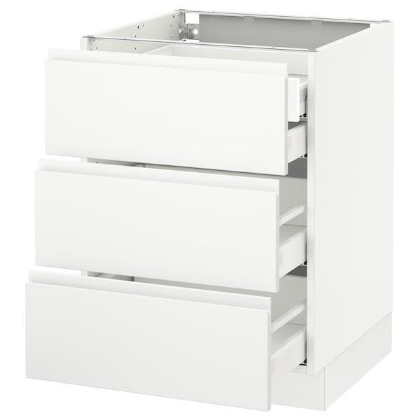 "SEKTION Base cabinet w/3 fronts & 4 drawers, white Maximera/Voxtorp matt white, 24x24x30 """