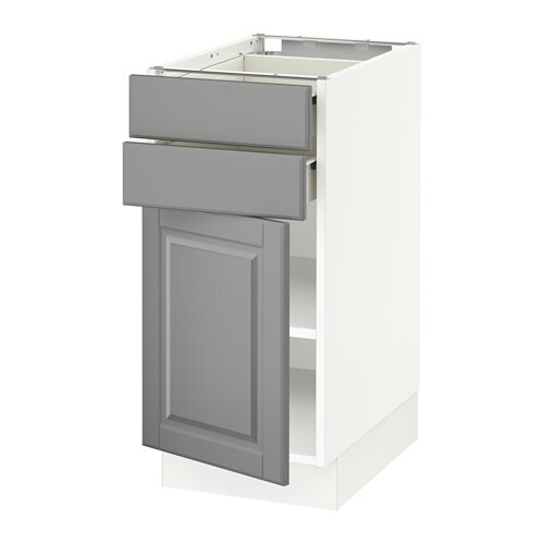 Sektion Base Cabinet W Door 2 Drawers White Forvara Bodbyn Gray