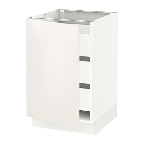 Sektion Base Cabinet W 1 Door 3 Drawers White Maximera Veddinge White