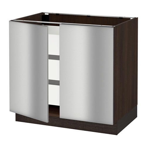 Sektion base cabinet w 2 doors 3 drawers wood effect for Stainless steel kitchen base cabinets