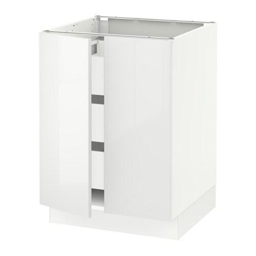 Sektion Base Cabinet W2 Doors 3 Drawers White Ma Ringhult