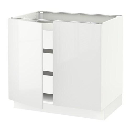 Sektion Base Cabinet W 2 Doors 3 Drawers White Maximera Ringhult White