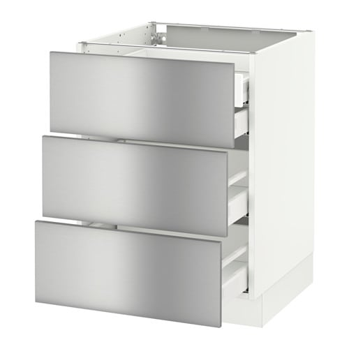 Stainless Steel Kitchen Cabinets Price: SEKTION Base Cabinet W/3 Fronts & 4 Drawers