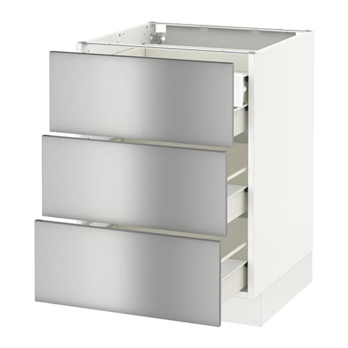 Stainless Steel Kitchen Base Cabinets: SEKTION Base Cabinet W/3 Fronts & 4 Drawers