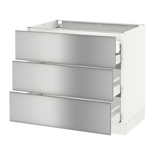 Sektion base cabinet w 3 fronts 4 drawers white ma for Stainless steel kitchen base cabinets
