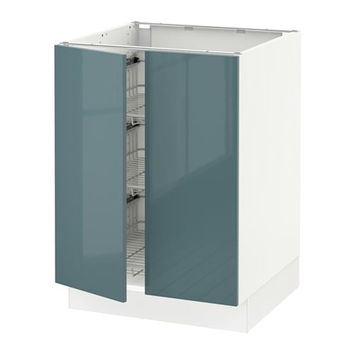 SEKTION Base Cabinet W/wire Basket+2 Doors   White, Grimslöv Off White    IKEA