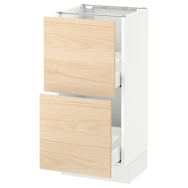 "SEKTION Base cabinet with 2 drawers, white Maximera/Askersund light ash effect, 15x15x30 """