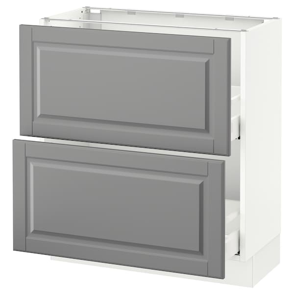 "SEKTION Base cabinet with 2 drawers, white Maximera/Bodbyn gray, 30x15x30 """