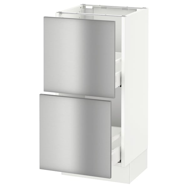 """SEKTION base cabinet with 2 drawers white Maximera/Grevsta stainless steel 15 """" 15 """" 15 1/2 """" 30 """""""