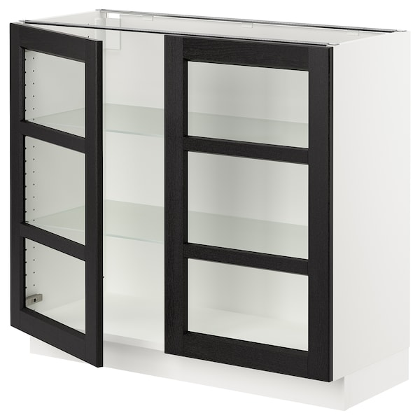 """SEKTION Base cabinet with 2 glass doors, white/Lerhyttan black stained, 36x15x30 """""""