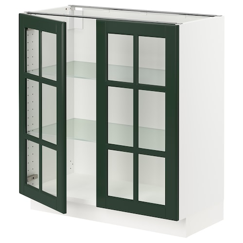 "SEKTION base cabinet with 2 glass doors white/Bodbyn dark green 30 "" 15 "" 15 1/2 "" 30 """