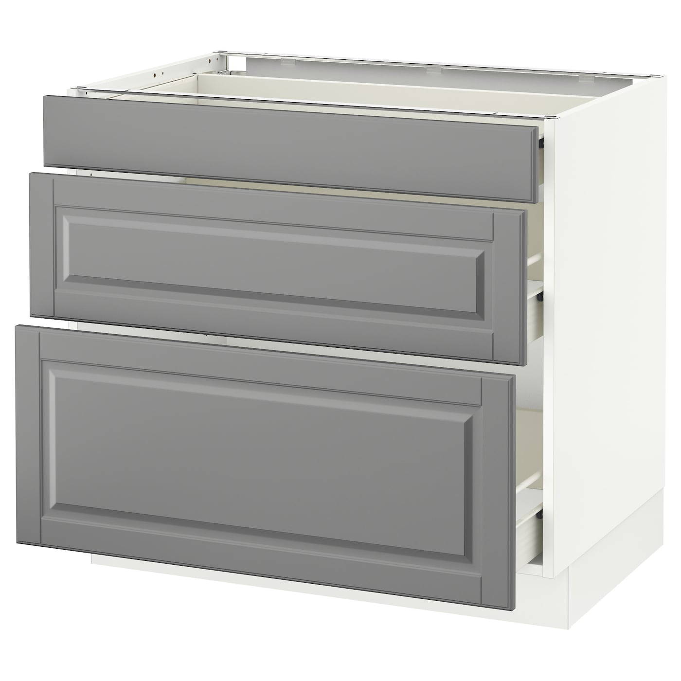 Picture of: Sektion Base Cabinet With 3 Drawers White Forvara Bodbyn Gray 36x24x30 Ikea