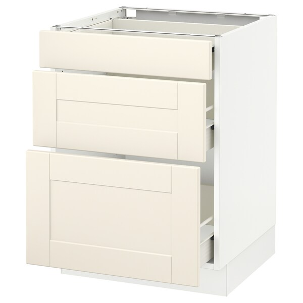 SEKTION Base cabinet with 3 drawers, white Förvara/Grimslöv off-white, 24x24x30 ""